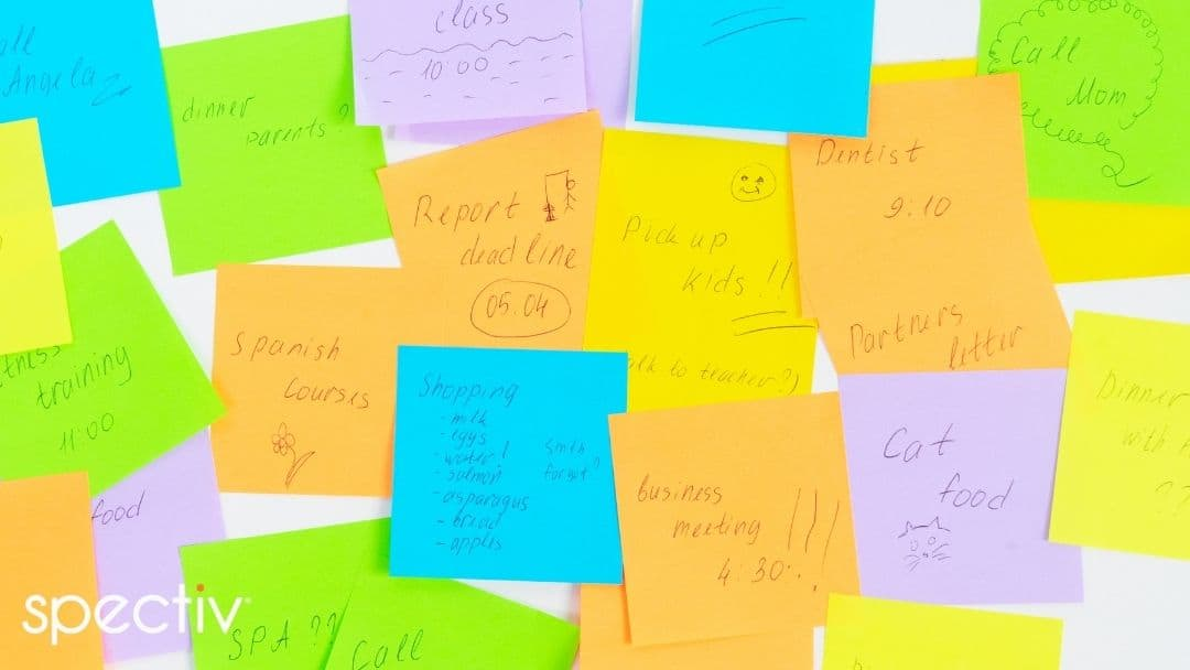 Many to-do list sticky notes